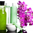 Bottles with shampoo on white background - Stock Photo