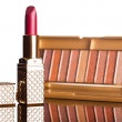 Red lipstick with brown eyeshadows isolated - Foto Stock