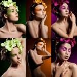 elegante modieuze vrouw met orchidee — Stockfoto