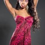 Elegant mulatto girl with long hair — Stock Photo
