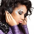 Mulatto girl with crystals on the face — Stock Photo