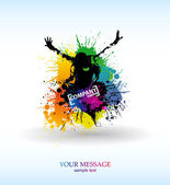 Colour grunge the poster — Vector de stock