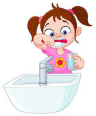 Girl brushing teeth — Stock Vector