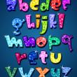 Stock Vector: Lower case sparkling alphabet