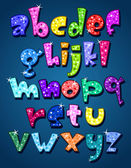 Lower case sparkling alphabet — Stock Vector