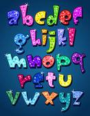 Lower case sparkling alphabet — Stock Vector