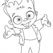 Stock Vector: Outlined Frankenstein kid