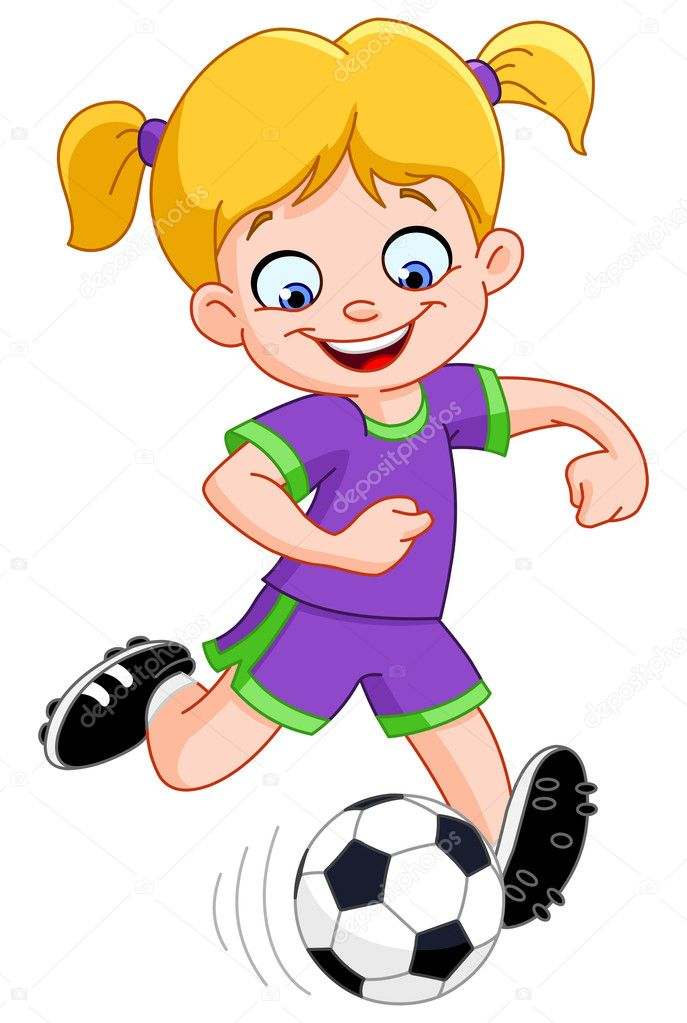 Young girl playing soccer — Stock Vector #7102385