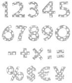 Hand written checkered numbers — Stock Vector