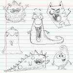 Monster doodles set 1 — Stock Vector