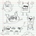 Monster doodles set 2 — Stock Vector