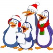Stock Vector: caroling penguins