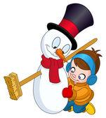 мальчик сделать снеговика — Cтоковый вектор
