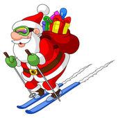 Skiing Santa — Stock Vector