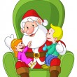 Santa with kids — Stock Vector