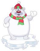 Oso polar de invierno — Vector de stock