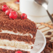 Close-up of white cup of coffee and chocolate cake — Foto Stock