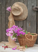 Hat and basket — Stock Photo