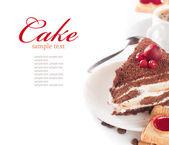Gros plan d'une tasse de café et de chocolat gâteau — Photo