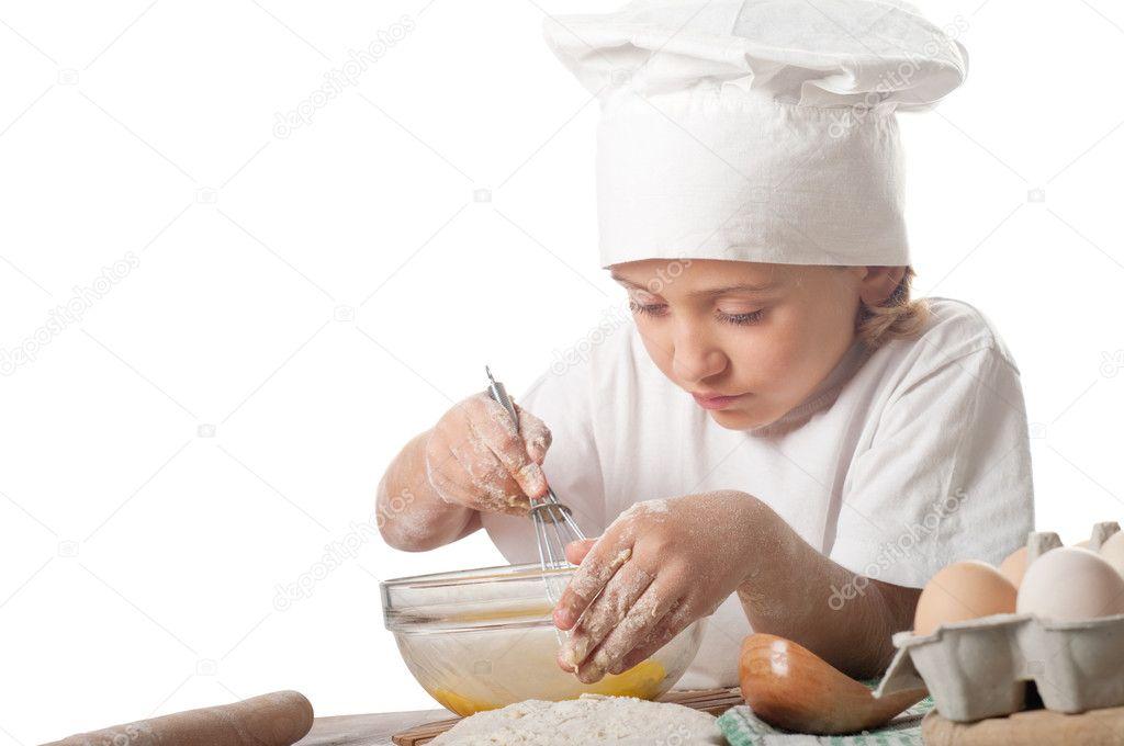 厨师帽的小贝克可爱, 漂亮白人女孩的照片