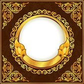 Gold vintage circle frame — Stock Vector