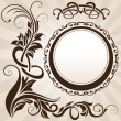 Royalty-Free Stock Vector Image: Brown vintage floral corner with frame