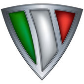 Steel shield with flag Italy — Stock Vector