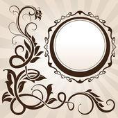 Esquina floral vintage marrón con marco — Vector de stock