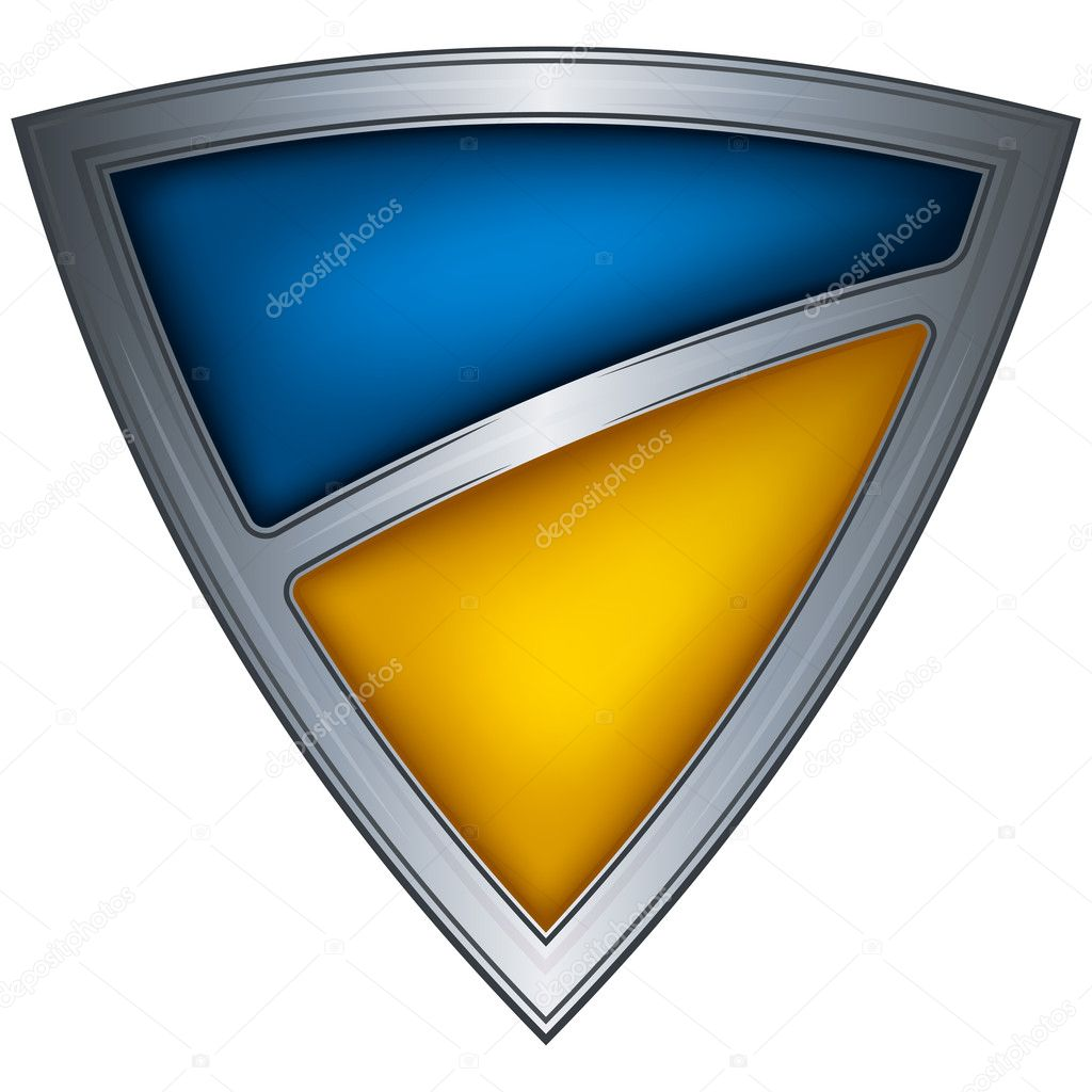 Steel shield with flag Ukraine — Stock Vector #7599533