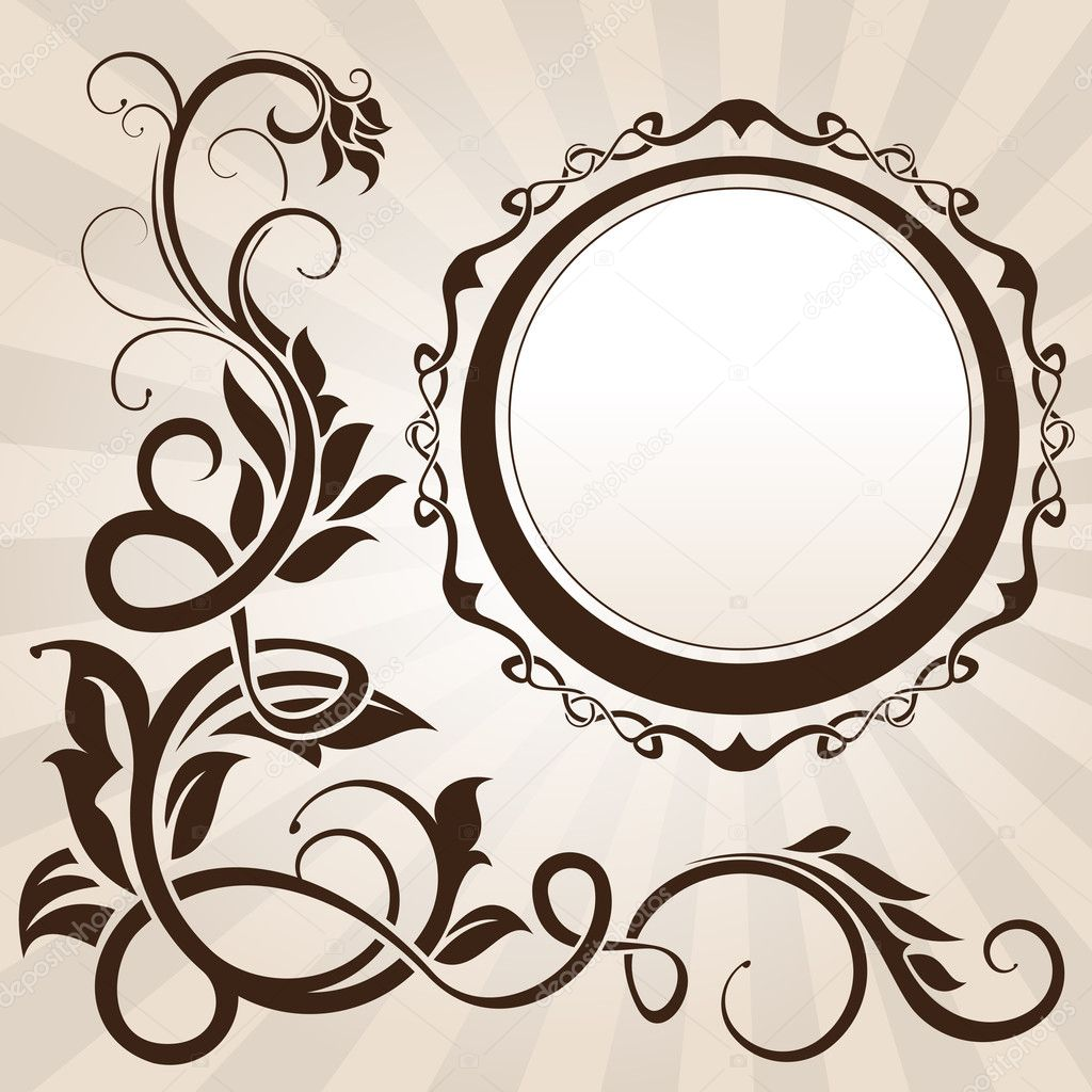 Brown vintage floral corner with frame  — Stock Vector #7599878