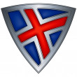 Steel shield with flag Iceland — 图库矢量图片