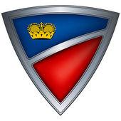 Steel shield with flag Liechtenstein — Stock Vector