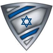 Scudo d'acciaio con bandiera israele — Vettoriale Stock