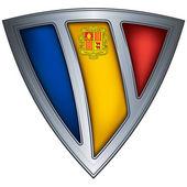 与钢盾标志安道尔 — 图库矢量图片