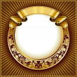 Gold vintage circle frame with ribbon - Vektorgrafik