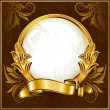 Gold vintage circle frame with ribbon — Stock Vector #7810551