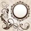 Stock Vector: Brown vintage floral corner with frame