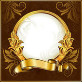 Gold vintage circle frame with ribbon — Stock Vector