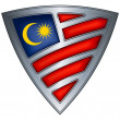 Steel shield with flag Malaysia — Imagen vectorial