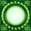 Green vintage circle frame with ribbon — Stock Vector