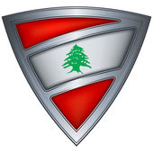 Steel shield with flag Lebanon — Stock Vector