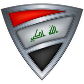 Steel shield with flag Iraq — Stock Vector