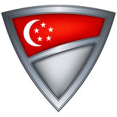 Steel shield with flag Singapore — Stock Vector
