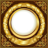 Gold vintage circle frame — Stock Vector