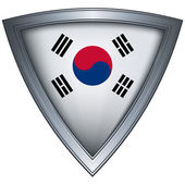 Steel shield with flag Korea — Stock Vector