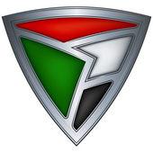 Steel shield with flag Sudan — Stock Vector