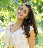 Endearing cute girl in the beautiful morning park outdoor — Stock Photo