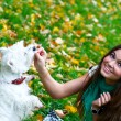 Young girl feeding her dog — Stock Photo