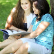 Beautiful mother and daughter reading fairy book in summer park — Stock Photo