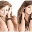 Stock Photo: Sensual young woman with beautiful long brown hairs